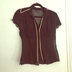 Black sheer button down with gold trim